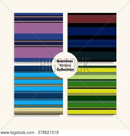 Sailor Stripes Seamless Pattern Set. Summer Spring Elegant Fashion Fabric. Training Suit Lines Moder