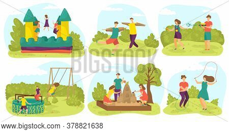 Kids Playing, Having Fun On Playground Outdoors In Summer, Friends Play In Park Activity Games, Set