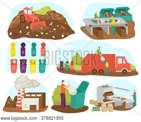 Waste Garbage Sorting And Recycling Set Of Vector Illustration. Ecology, Materials And Factory. Wast