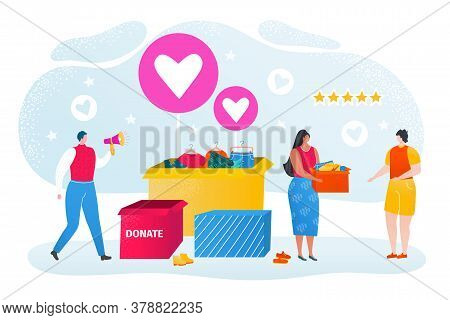 Clothes Donation, Charity, Social Care, Volunteers Donate Clothings, Help And Volunteering Flat Vect