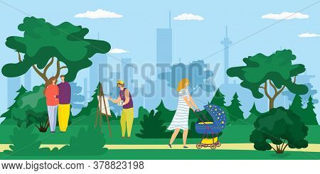People Walking Outdoor In City Park, Young Mother With Pram, Artist Drawing Picture And Happy Couple