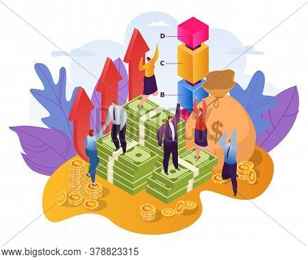 Profitable Investment Concept Of Finances Flat Vector Illustration. People Investors, Stalks Of Doll