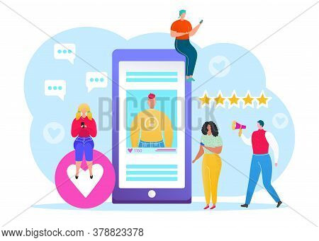 Social Media Concept, Vector Illustration Of Young People Using Mobile Tablet And Smartphone For Sen