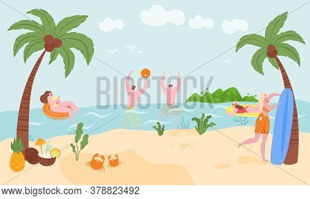 Vacation On Sea Or Ocean In Summer, Surfing, Swimming In Rubber Ring Floating In Ocean Water Vector