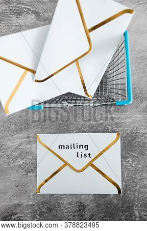 Email Marketing And Promoting Online Sales Concept, Mailing List Email Envelope Icon With Shopping C