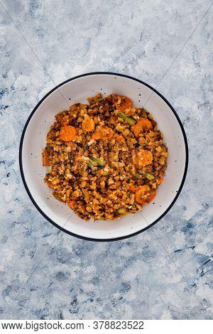 Healthy Plant-based Food Recipes Concept, Vegan Potato And Lentils Mash With Garden Veggies