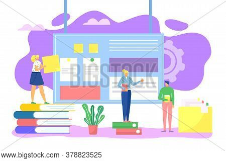 Work Proccess, Business Technology Concept Vector Illustration, Working Place. Success In Job Office