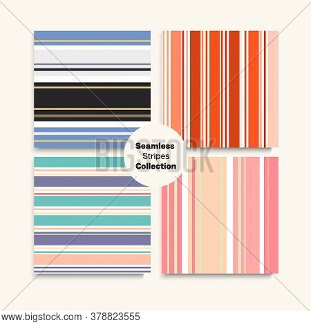 Sailor Stripes Seamless Pattern Set. Winter Spring Elegant Fashion Fabric. Business Suit Lines Hipst
