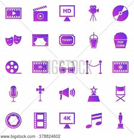 Movie Gradient Icons On White Background, Stock Vector