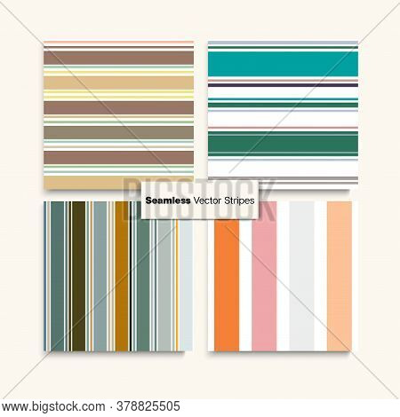 Sailor Stripes Seamless Design Set. Spring Summer Vintage Fashion Print. Trendy Fashion Background S