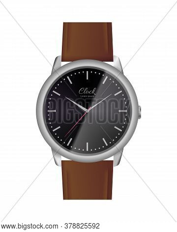 Classic Analog Watch With Black Face. Elegant Wrist Watch With Brown Leather Strap. Conception Of Pu