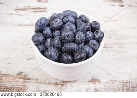 Fresh Ripe Blueberries In Glass Bowl, Natural Source Of Minerals And Vitamin, Healthy Dessert Concep