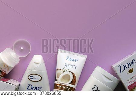 Kharkov, Ukraine - March 4, 2020 : Dove Products, Shower Gel, Shampoo, Body Milk, Soap, Hand Cream W