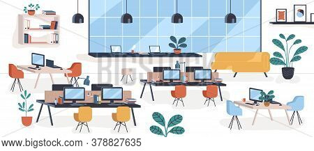 Modern Mid Century Office, Open Space. Comfy Houseplant, Chair, Desktops. Comfortable Coworking Plac