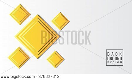 Colorful 3d Square Papercut Layers Vector Illustration. Abstract Background Design Template. Yellow,