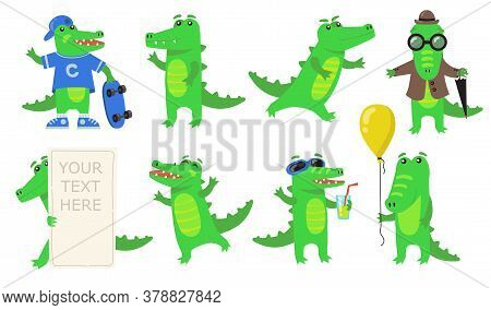 Various Green Crocodile Characters Flat Icon Set. Cartoon Funny Alligator Or Wild Amphibian Reptile