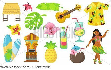 Various Hawaii Symbols Flat Icon Set. Hawaiian Totem, Tribal Mask, Guitar, Girl And Bungalow Isolate