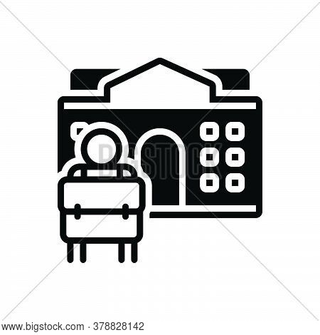 Black Solid Icon For Back-to-school School Student Bag Building Primary University College Education
