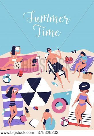 Vertical Poster With Sunbathing, Chilling People On Beach Vacation. Summer Time Handwritten Phrase.