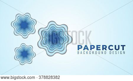 Wavy Hole Papercut Layers Vector Illustration. Abstract Background Design Template. Blue Gradient Co