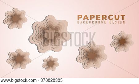 Wavy Hole Papercut Layers Vector Illustration. Abstract Background Design Template. Skintone Gradien