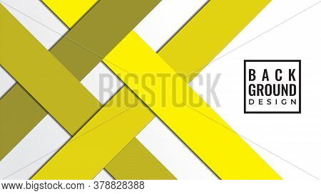 Ribbon Papercut Layers Vector Illustration. Abstract Background Design Template. Yellow Gray Green C