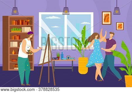 Art Studio, Artist Painting At Easel Models In Dance In Art Workshop, Canvas Drawing Picture Vector