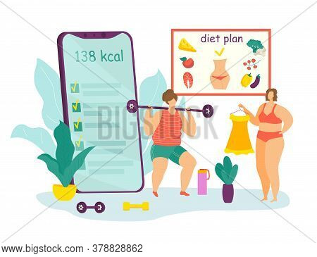 Diet And Sport For Overweight Concept, Fat Female And Healthy Dietary Food With Diet Program From Di