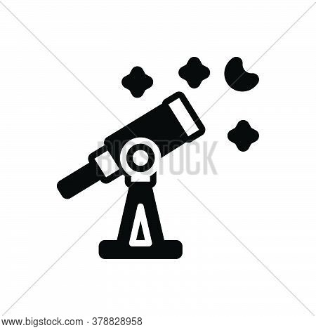 Black Solid Icon For Telescope Astronomy Discover Cosmos Space Scope Equipment Magnify Observation S