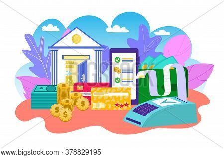 Mobile Banking And Bank Business Technology In Internet, Money Transaction, Payments Vector Illustra