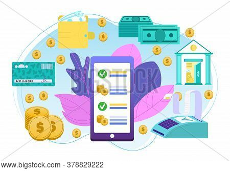 Mobile Banking And Business Technology In Internet, Money Transaction, Payment Elements For Infograp