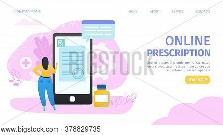 Online Prescribption, Mobile Medicine, Mhealth, Online Doctor Landing Webpage Vector Illustration. W