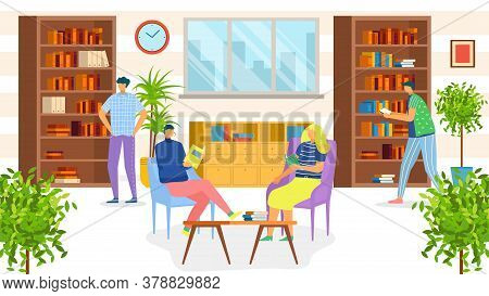 People In Library Reading Books Students, Knowledge And Education Vector Illusration. Librarian And