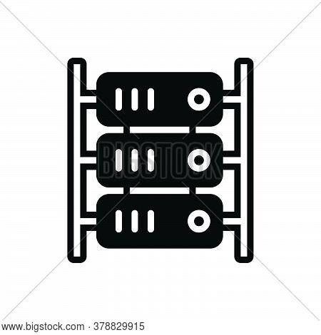 Black Solid Icon For Server Cloud Hardware Datacenter Digital Internet Hosting Storage Database Tech