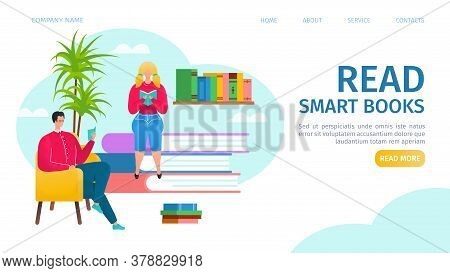Read Books Landing Vector Illustration. Man And Girl Reading, Sitting On Stacks Of Books In Library.