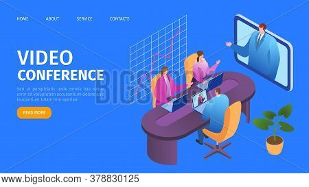 Video Conference, Business Call Online Landing Web Page, Vector Illustration. Businessmen Speaking O