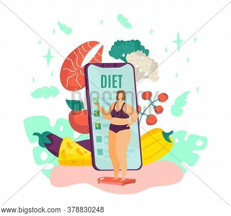 Overweight Woman On Diet, Fat Female And Healthy Dietary Food With Diet Program From Dietitian On Sm