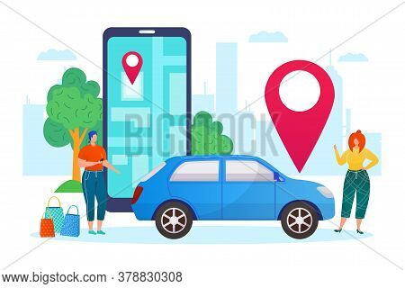 Carsharing, Share Tranport Vehicle Concept, Rental Car Business Flat Vector Illustration. Auto Rent