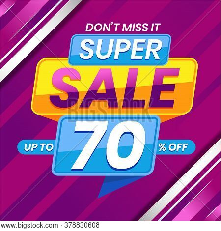 Vector Graphic Of Modern Colorful Super Sale 70 Percent Advertising Banner Background. Perfect For R