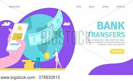 Bank Transfer, Money Online Payment Methods Vector Illustration. Internet Banking, Purchasing And Tr