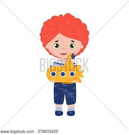 Red Hair Happy Boy With The Toy Submarine. Vector Illustration Of The Kid In The Sailor Suit. Curly