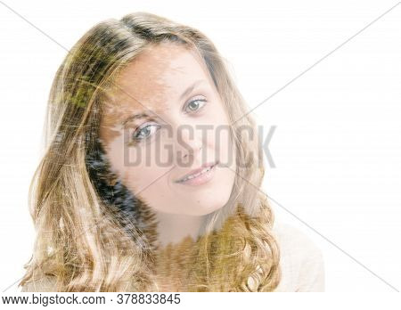 Portrait Of Beautiful Blonde Girl On White Background, Double Multiple Exposure Effect,combined With
