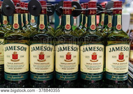 Tyumen, Russia-june 5, 2020: Bottle Of Jameson Irish Whiskey. Jameson Is By Far The Best Selling Iri