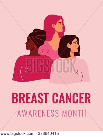 Three Women With Pink Ribbons Of Different Nationalities Standing Together. Breast Cancer Awareness