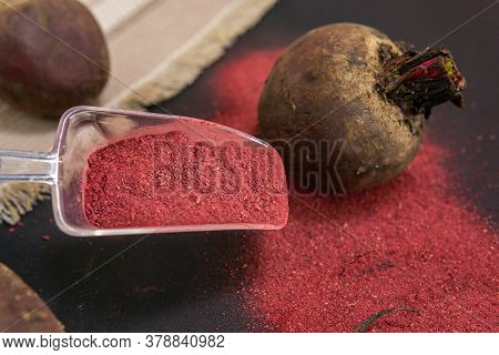 Beetroot Organic Beats In Powdered Form Ready For Use. Gluten-free Beetroot Flour