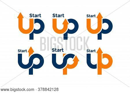 Set Of Up Logo Template Design Concept. Letter U And P Logo Vector With Arrow Combination.
