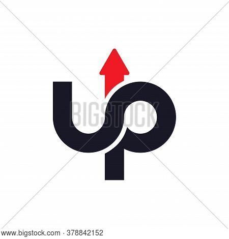 Logo Template Design Concept. Letter U And P Logo Vector With Arrow Combination.