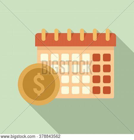 Online Loan Calendar Date Icon. Flat Illustration Of Online Loan Calendar Date Vector Icon For Web D