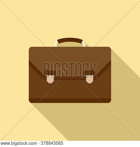 Leather Office Suitcase Icon. Flat Illustration Of Leather Office Suitcase Vector Icon For Web Desig