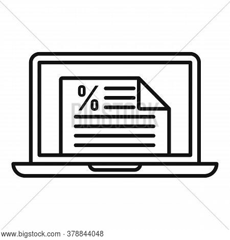 Laptop Online Loan Icon. Outline Laptop Online Loan Vector Icon For Web Design Isolated On White Bac